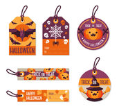 Set of Different Halloween Gift Tags. Royalty Free Stock Image