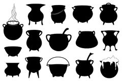 Set of different Halloween witches pots. Isolated on white Royalty Free Stock Photography