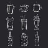 Set of different hand drawn beverages on the Stock Photo