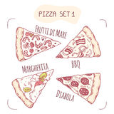 Set of different hand drawn pizza slices Royalty Free Stock Images
