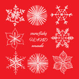 Set of different hand drawn snowflakes. Vector illustration Royalty Free Stock Photos