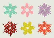 Set of different hand drawn snowflakes Royalty Free Stock Images