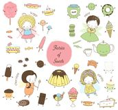 Cute hand drawn dessert doodles with fairies royalty free illustration