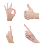 Set of different hand gestures Royalty Free Stock Photography