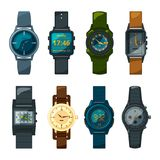 Set of different hand watch for male and female. Watch hand and wristwatch digital and mechanical. Vector illustration Stock Image