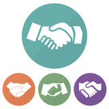 Set of different handshake icon on a circles. Vector illustration Stock Photography