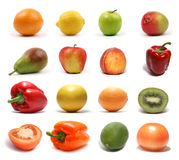 A set of different healthy fruits and vegetables Stock Photo