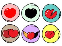 Set of Different Heart Symbols on Round Background Royalty Free Stock Photography