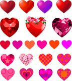 Set of Different Hearts Stock Images