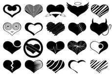 Set Of Different Hearts. Isolated on white Stock Image