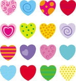 Set of 16 different hearts. In different colors stock illustration