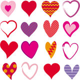 Set of 16 different hearts Stock Image