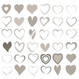 Set of 36 different hearts. Set of 36 different heats in beige Stock Photography