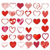 Set of 36 different hearts. Set of 36 different heats in red Stock Photos