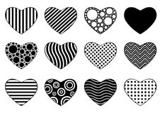 Set Of Different Hearts Stock Photography