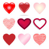 Set of different hearts. Stock Photography