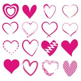 Set of 16 different hearts. In pink vector illustration