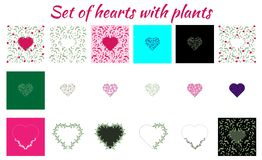 Set of different hearts with plants, leaves and flowers. Different colors and sizes for backgrounds or decorations for a stock illustration