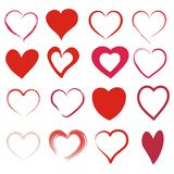 Set of 16 different hearts. In red stock illustration