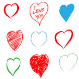 Set of different hearts on Valentine`s Day. Vector illustration Stock Image