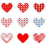 Set of different hearts on Valentine`s Day. Vector illustration Stock Photography