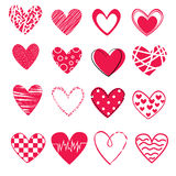 Set of 16 different hearts  on white background, icons for st. valentines day Stock Photography