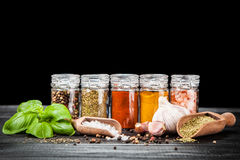 Set of different herbs and spice Stock Photos