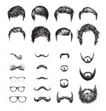 Set of different Hipster haircuts, beards, glasses, bowtie and pipe Stock Image