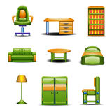 Set of different home furniture colored Stock Image