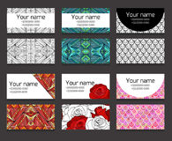 Set of different horizontal  business cards templates. Boho patterns and flowers. Corporative and creative element for your design Stock Images