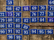 Set of different house number plates Stock Photos