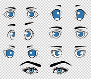 Set of different human and anime eyes, cartoon girl face elements. Vector illustration Stock Photo