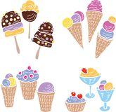 A set of the different ice cream. A vector image of the different ice cream stock illustration