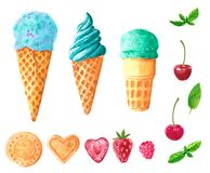 Set of different ice cream balls in waffle cone, watercolor clip art vector illustration