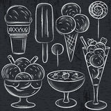 Set of different  ice cream on blackboard Royalty Free Stock Images