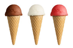 Set of different ice cream cone Royalty Free Stock Images