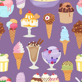 Set of different ice cream seamless pattern background cartoon dessert vector illustration Stock Photo