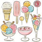 Set of different  ice cream Royalty Free Stock Photo