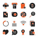 Set with different icons for apps, programs, sites and other. Office and business icons set vector illustration