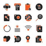 Set with different icons for apps, programs, sites. And other. Office and business icons set. EPS 10 Royalty Free Stock Image