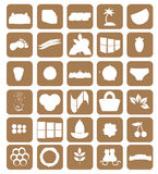 Set of different icons. brown. vector Royalty Free Stock Images