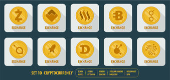 Set of different  icons cryptocurrency Stock Image