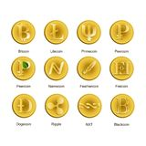 Set of different icons of cryptocurrency. Vector illustration with set of different icons of cryptocurrency Stock Image