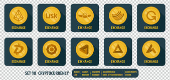 Set of different icons exchange cryptocurrency vector illustration