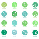 Set with different icons with herbs Royalty Free Stock Photos