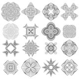 Set of Different Icon Guilloche Rosettes. Set of Different Icons Isolated on White Background. Geometric Ornaments. Guilloche Rosettes Isolated. Ornamental Round stock illustration
