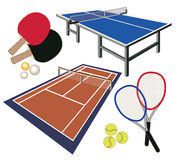 Set of different icons for tennis Stock Image