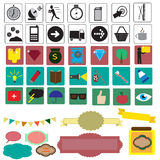 Set with different icons Royalty Free Stock Photos