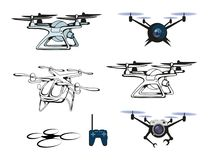 Set of different illustrations of Drone quadrocopter. Drone with camera. Robotics illustration. Vector graphics to design Stock Photo