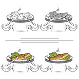 Set of different images of fish. And dining items Stock Photo